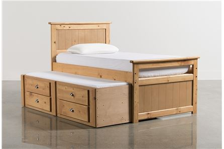 Summit Caramel Twin Panel Bed W/2-Drawer Captains Trundle - Main