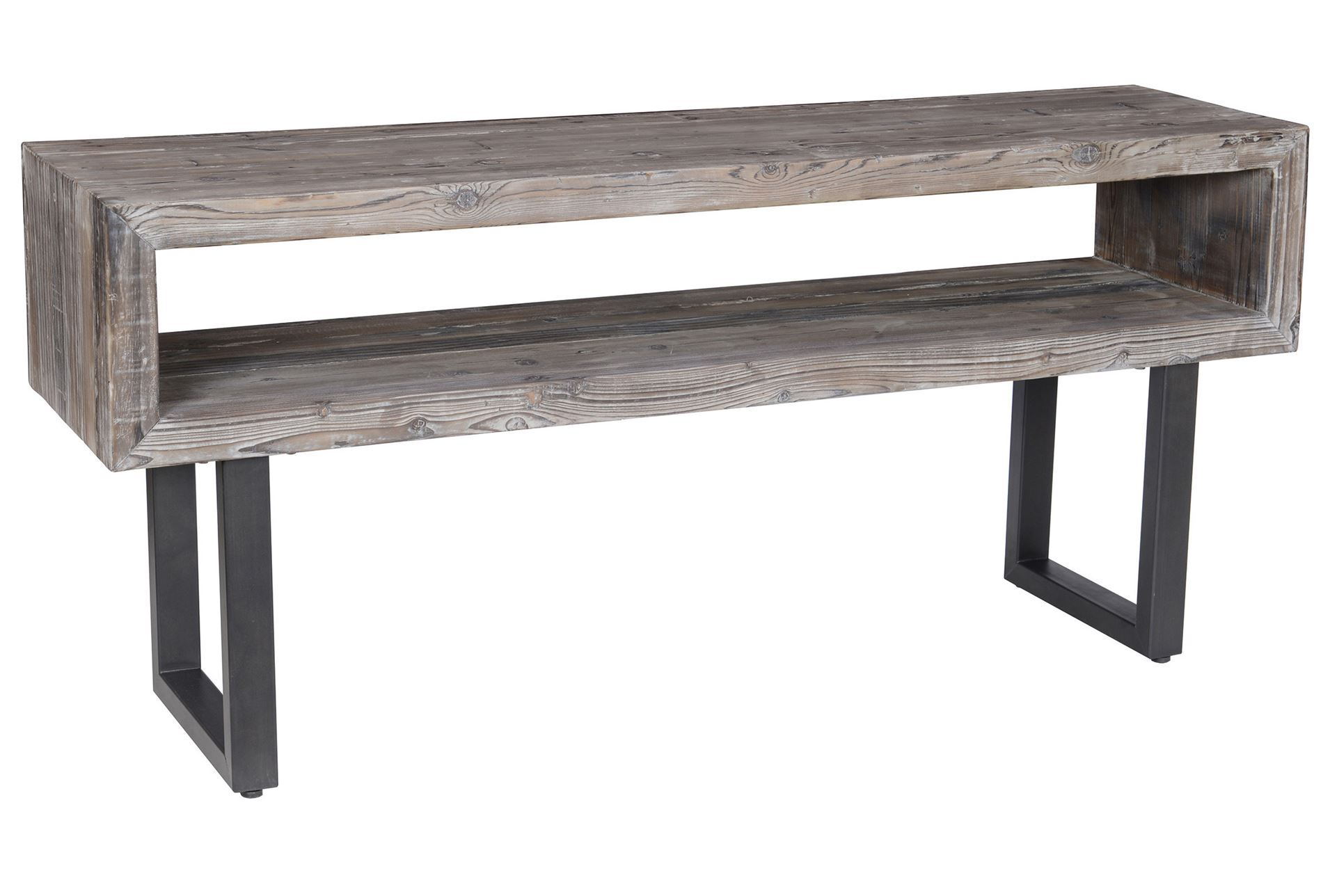 Otb bleecker grey console table living spaces Console coffee table