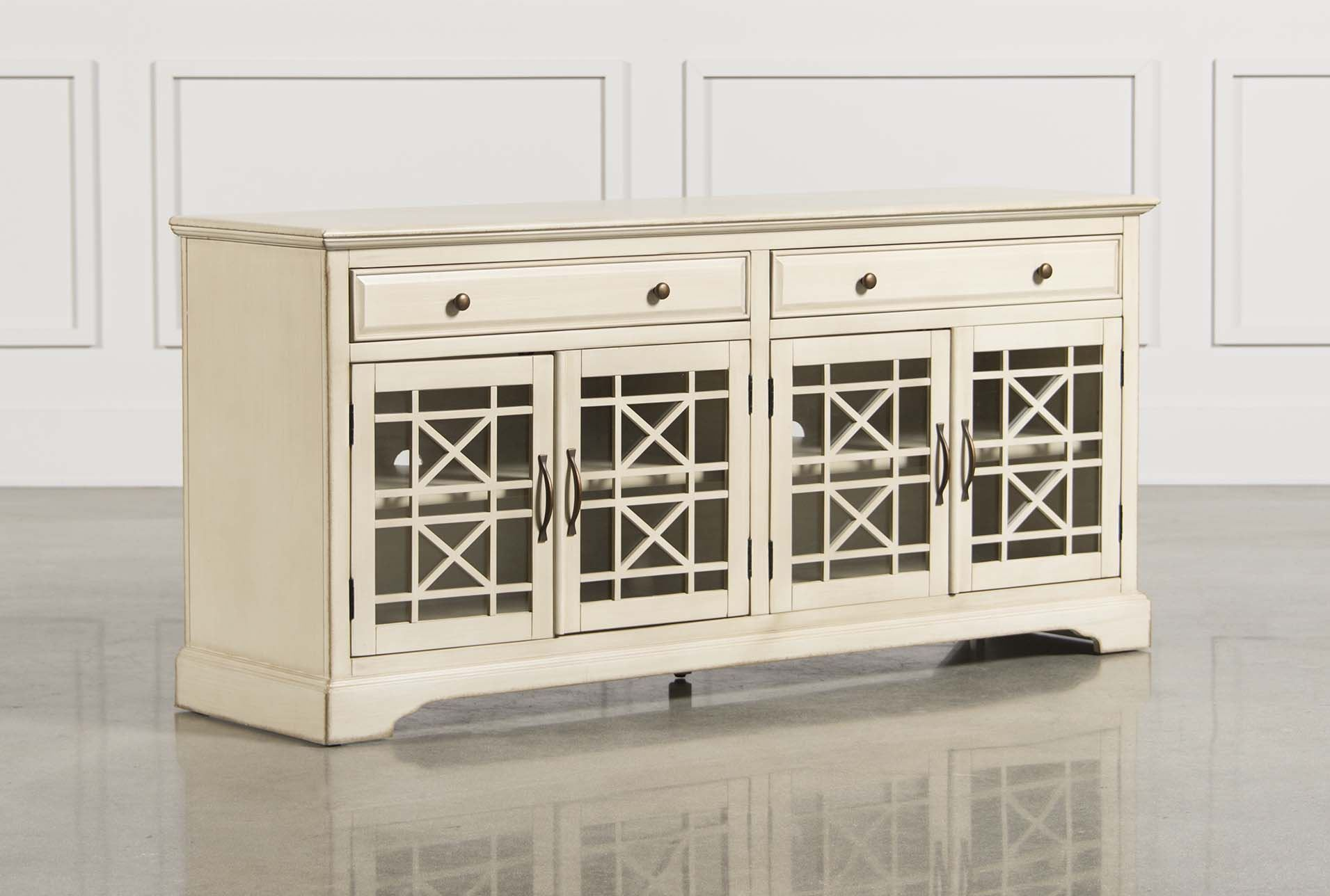 Annabelle cream 70 inch tv console living spaces - Media consoles for small spaces plan ...