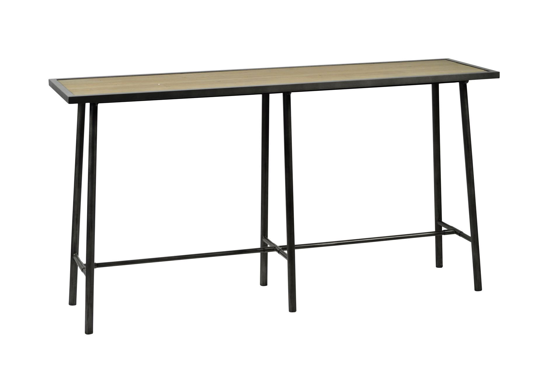 Otb reclaimed pine steel sofa table living spaces for Living spaces sofa table