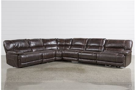 Marx Nutmeg 6 Piece Power Reclining Sectional W/2 Armless Chairs - Main