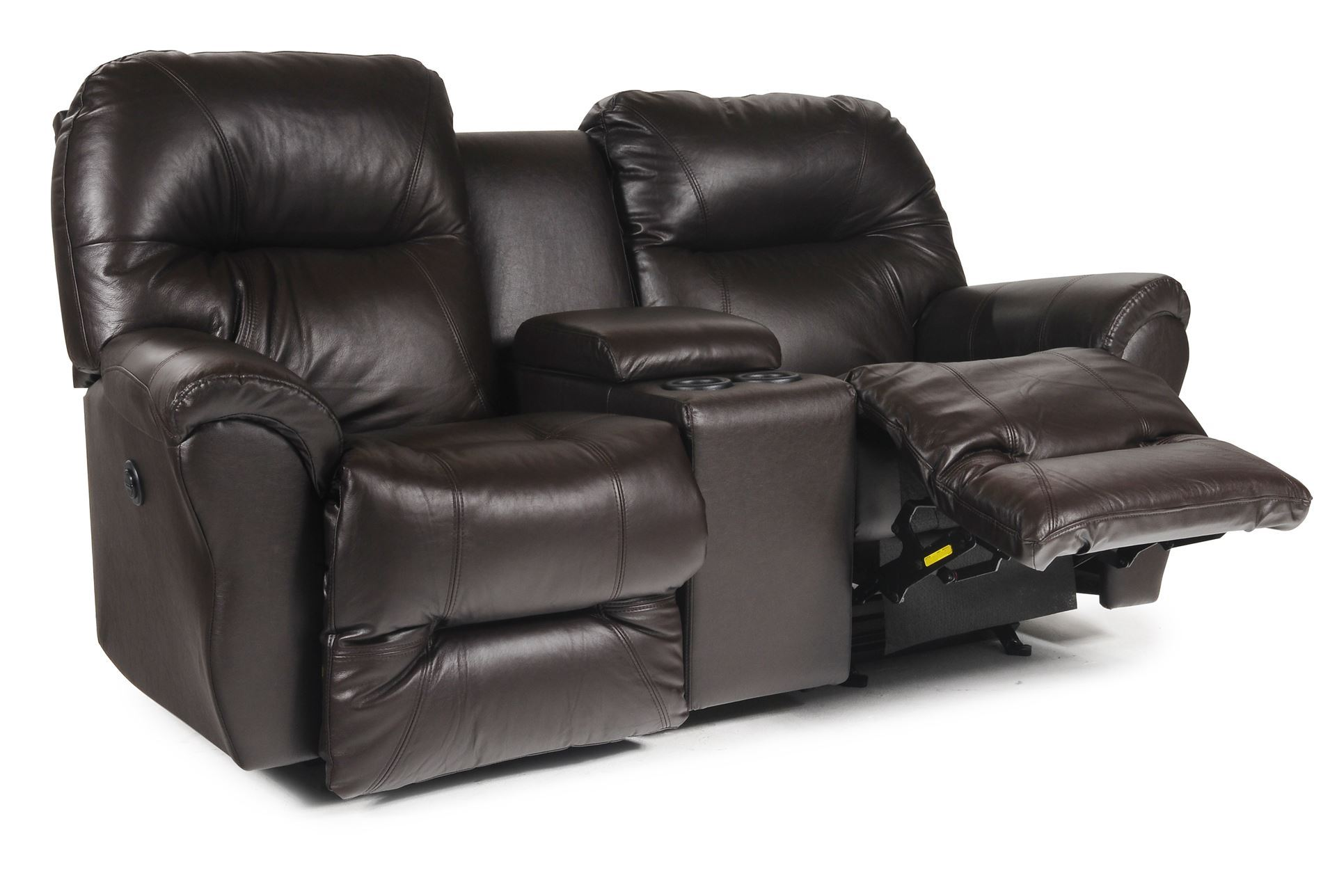 Bodie Leather Power Rocker Reclining Loveseat W Console Living Spaces