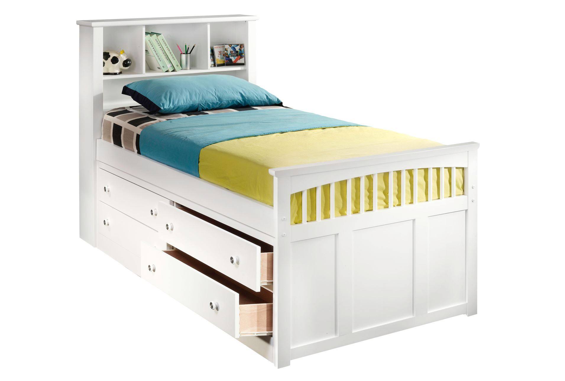 Bayfront twin captains bed w single 4 drawer unit living for Small single bed with drawers