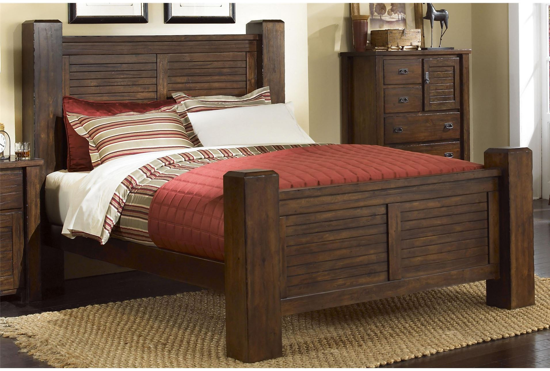 Canyon california king poster bed living spaces for Sideboard 09003