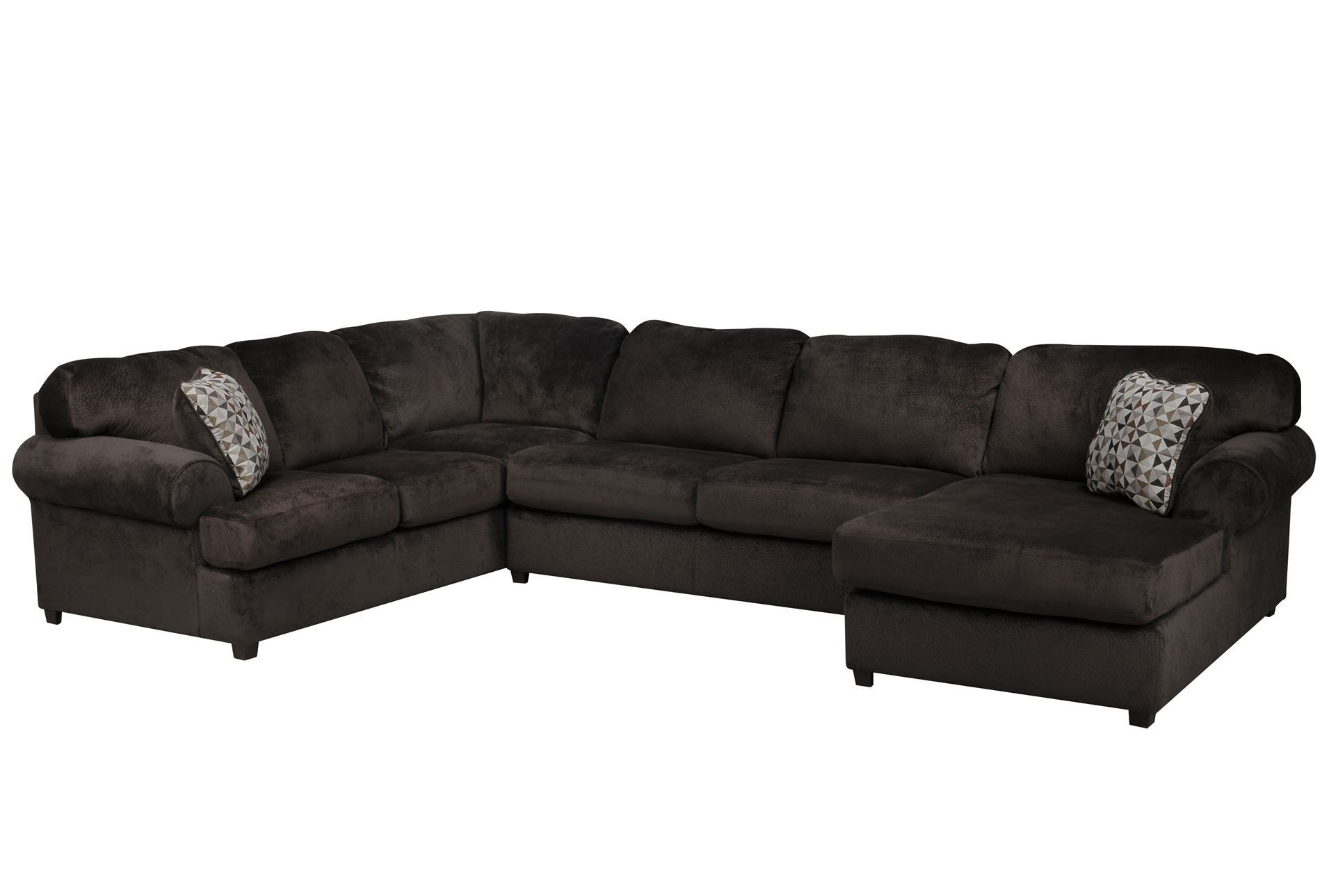 jessa place chocolate 3 piece sectional w raf chaise. Black Bedroom Furniture Sets. Home Design Ideas
