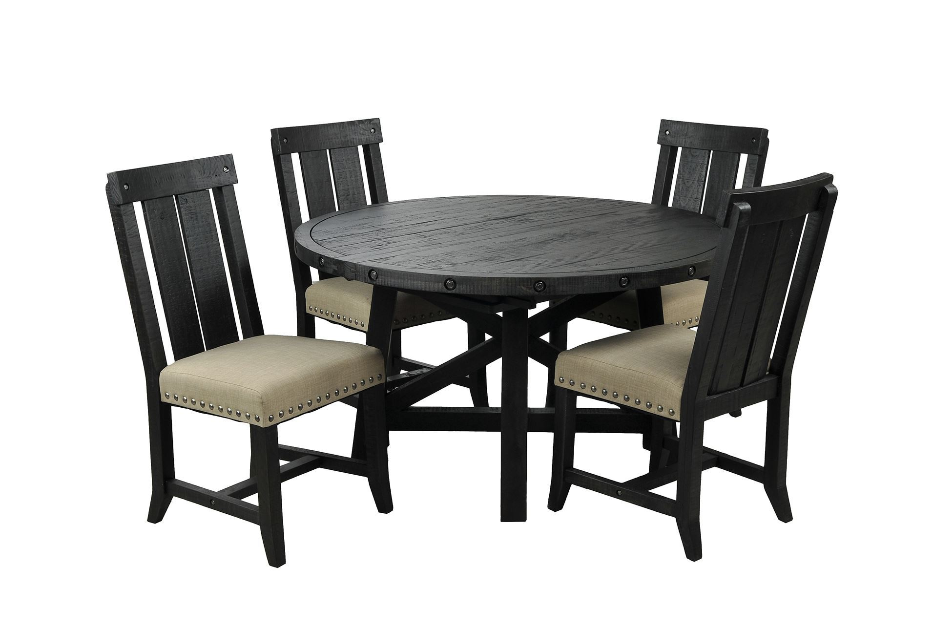 Superb img of Jaxon 5 Piece Round Dining Set W/Wood Chairs Living Spaces with #796E52 color and 1911x1288 pixels
