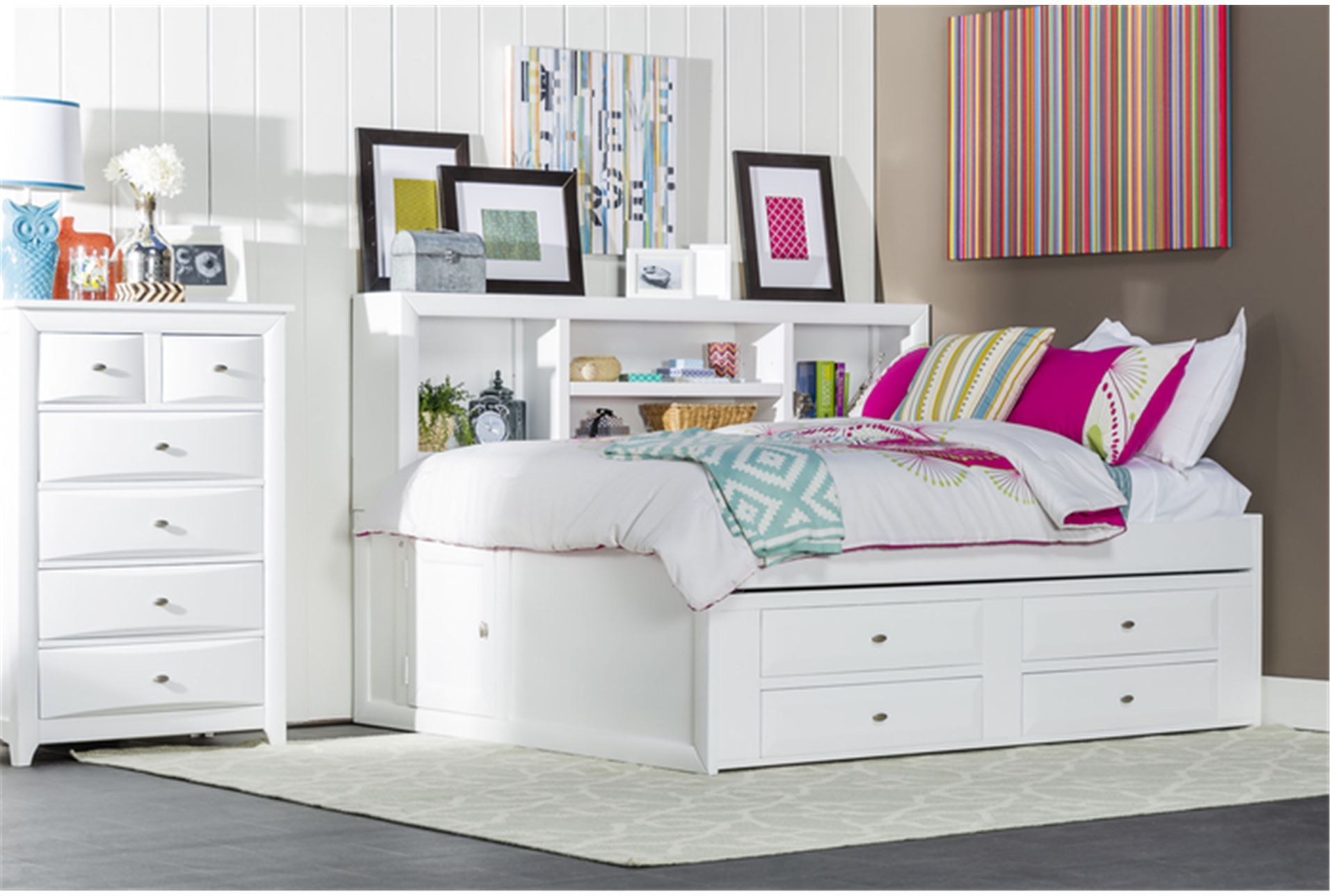 Varsity white twin roomsaver bed w 4 drawer captains unit - White twin captains bed with drawers ...