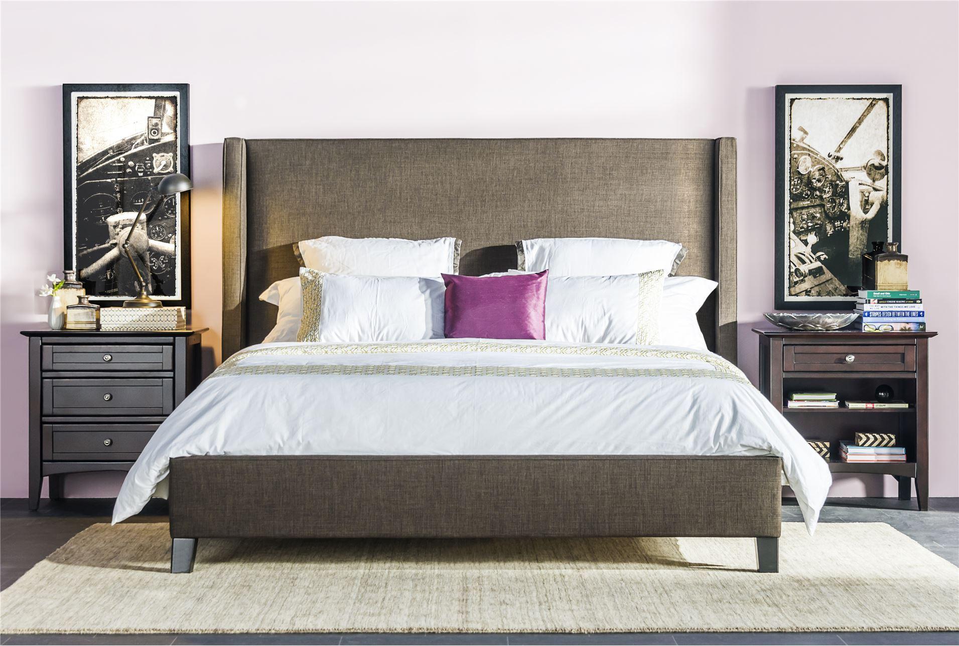 gage eastern king upholstered panel bed living spaces. Black Bedroom Furniture Sets. Home Design Ideas