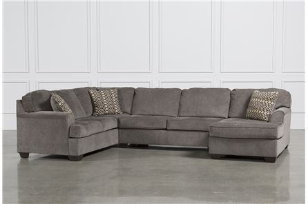 KIT-LORIC SMOKE 3 PIECE SECTIONAL W/RAF CHAISE