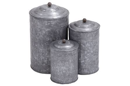 Display product reviews for 3 PIECE SET GALVANIZED METAL CANISTERS