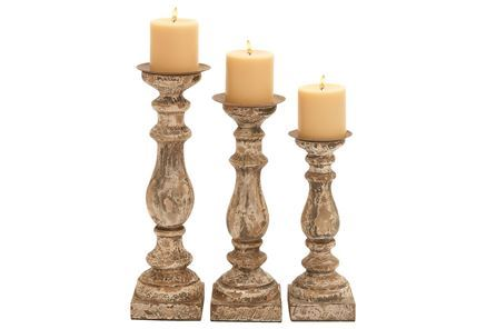 Display product reviews for 3 PIECE SET WOODEN CANDLEHOLDERS