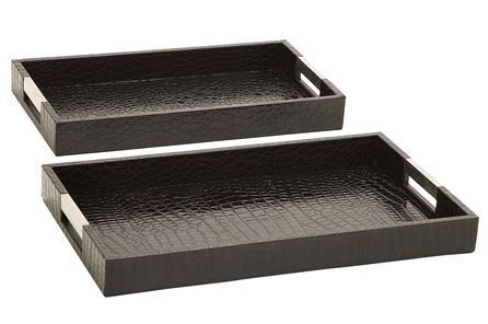 Display product reviews for 2 PIECE SET WOOD AND LEATHERETTE TRAYS