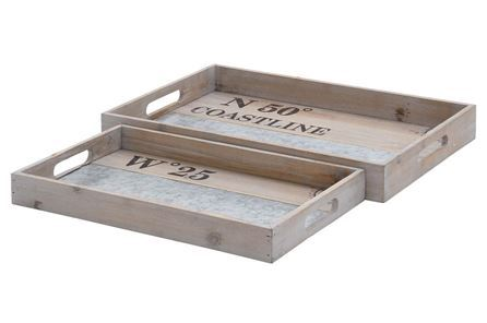 Display product reviews for 2 PIECE SET WHITE WASH WOOD & METAL TRAY