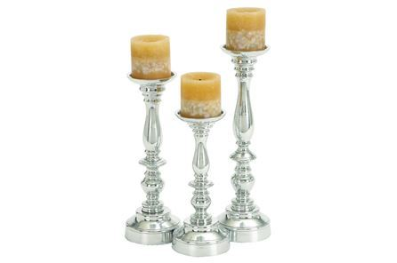 Display product reviews for 3 PIECE SET ALUMINUM CANDLEHOLDER SET