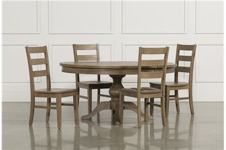 Display product reviews for KIT-BECKETT 5 PIECE ROUND DINING SET W/SLAT BACK SIDE CHAIRS