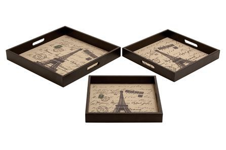 Display product reviews for 3 PIECE SET PARIS WOOD LEATHER TRAYS