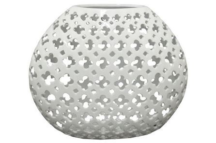 Display product reviews for OVAL WHITE PIERCED VASE