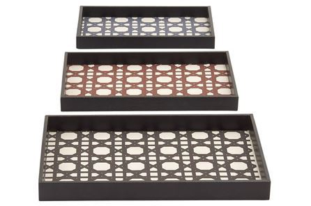 Display product reviews for 3 PIECE SET WOOD & VINYL TRAYS